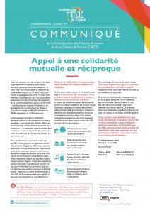 Communiqué de la CMJCF: appel à la solidarité