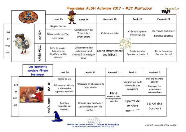 Programme Automne ALSH