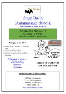 Stage de Do-In (Automassage chinois) Samedi 3 mars 2018