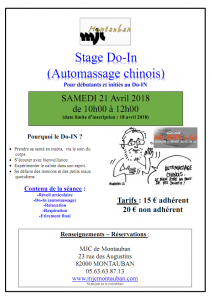 Stage de Do-In (Automassage chinois) Samedi 21 avril 2018